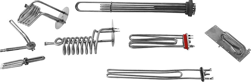 Tubular heating elements for liquid